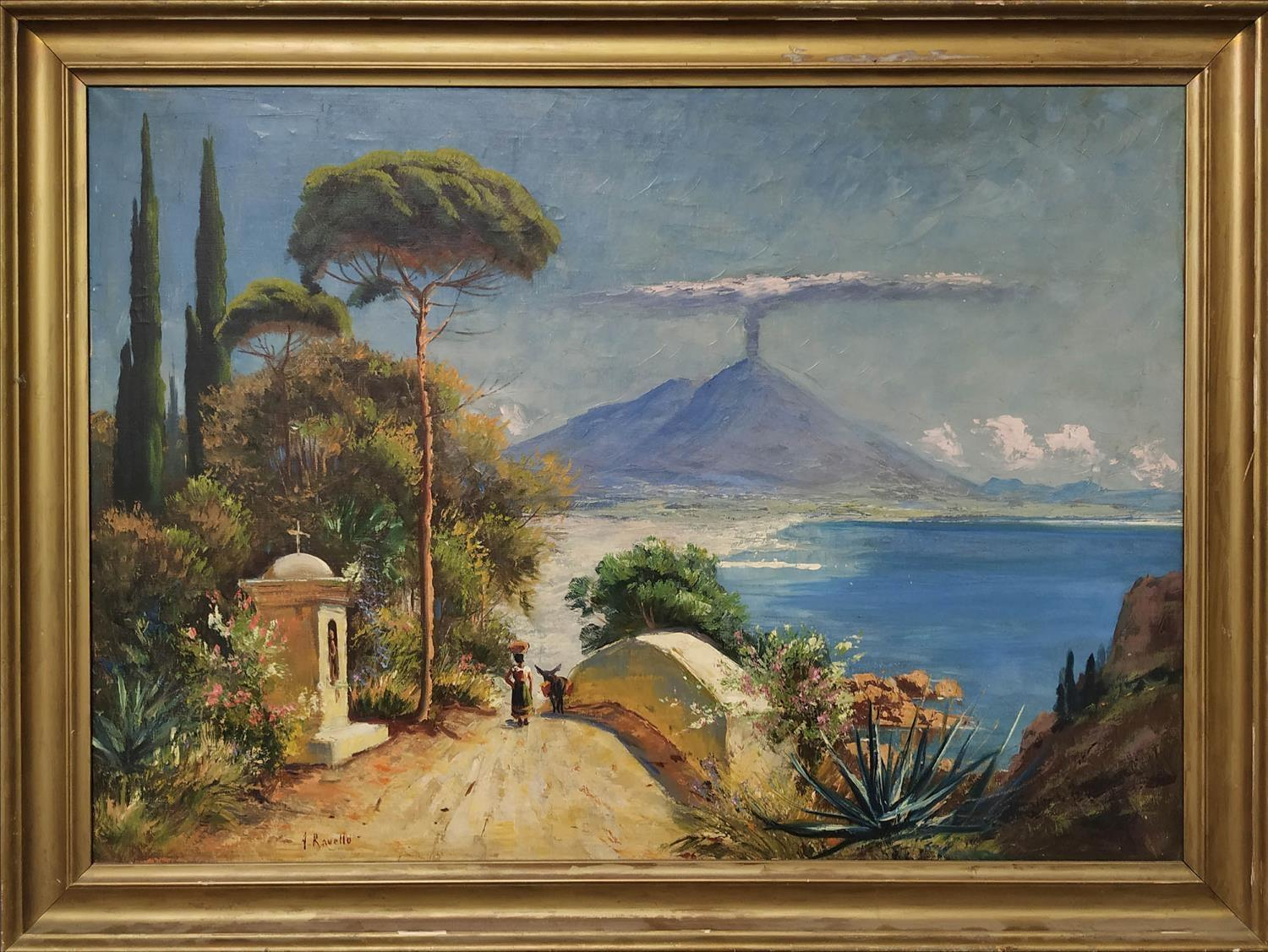 A. RAVELLO (early 20th century, Italian)'Neopolitan view with Vesuvius', oil on canvas, signed and