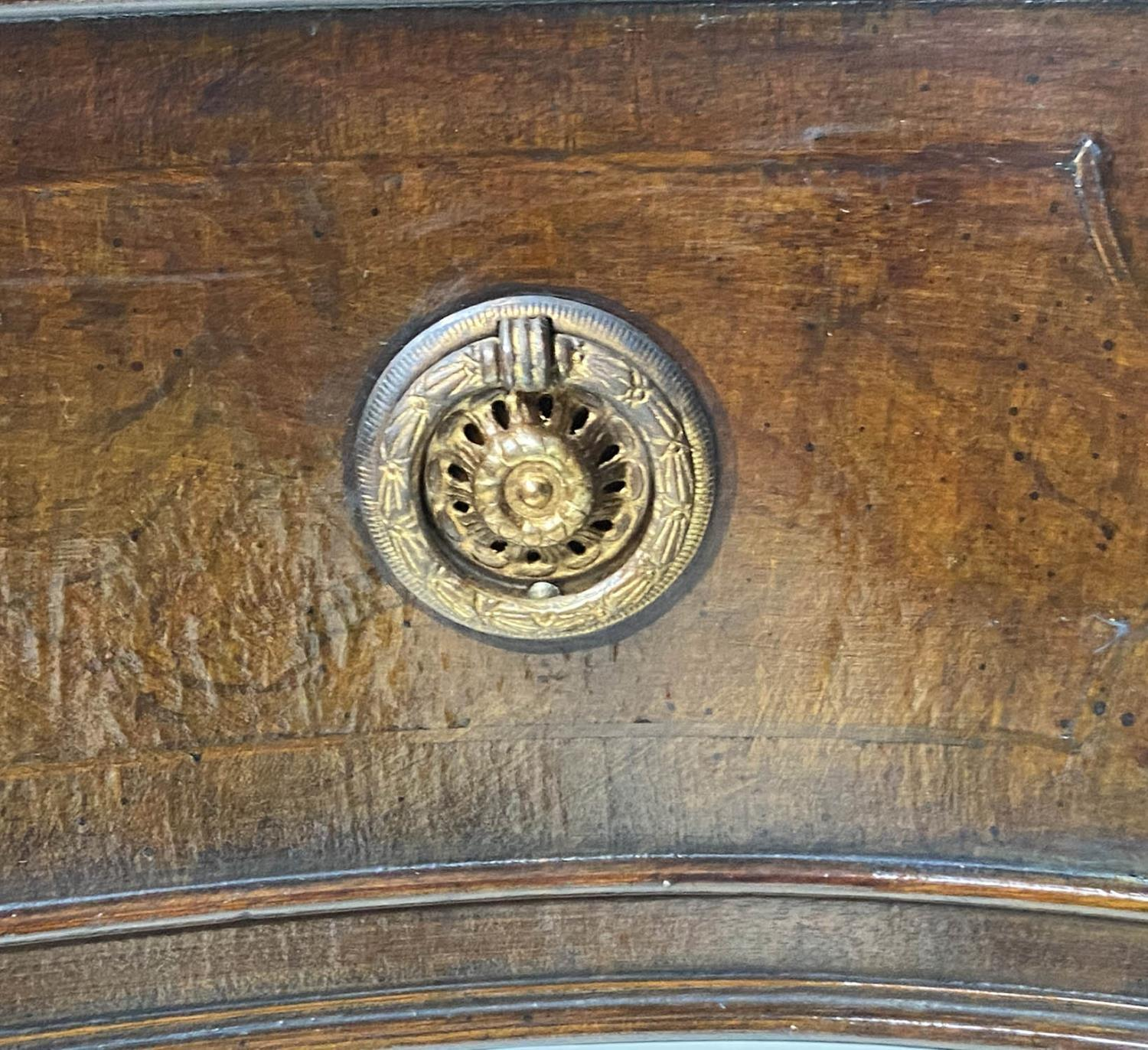 HALL TABLE, George III style figured mahogany and brass inlaid of serpentine outline with two frieze - Image 6 of 9