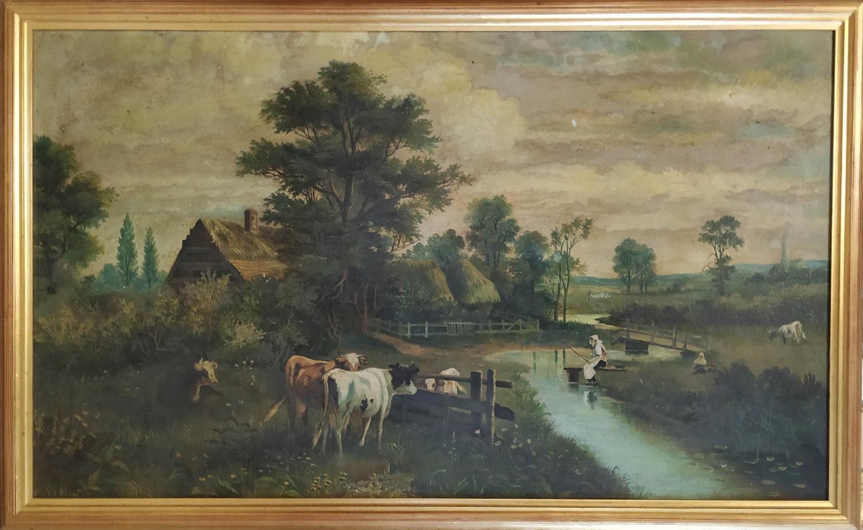 LLEWELLYN-COLE (19th century British) 'Landscape', oil on paper, 99cm x 56cm, framed.