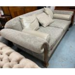 SOFA, bespoke made, with three scatter and two bolster cushions, 230cm W.
