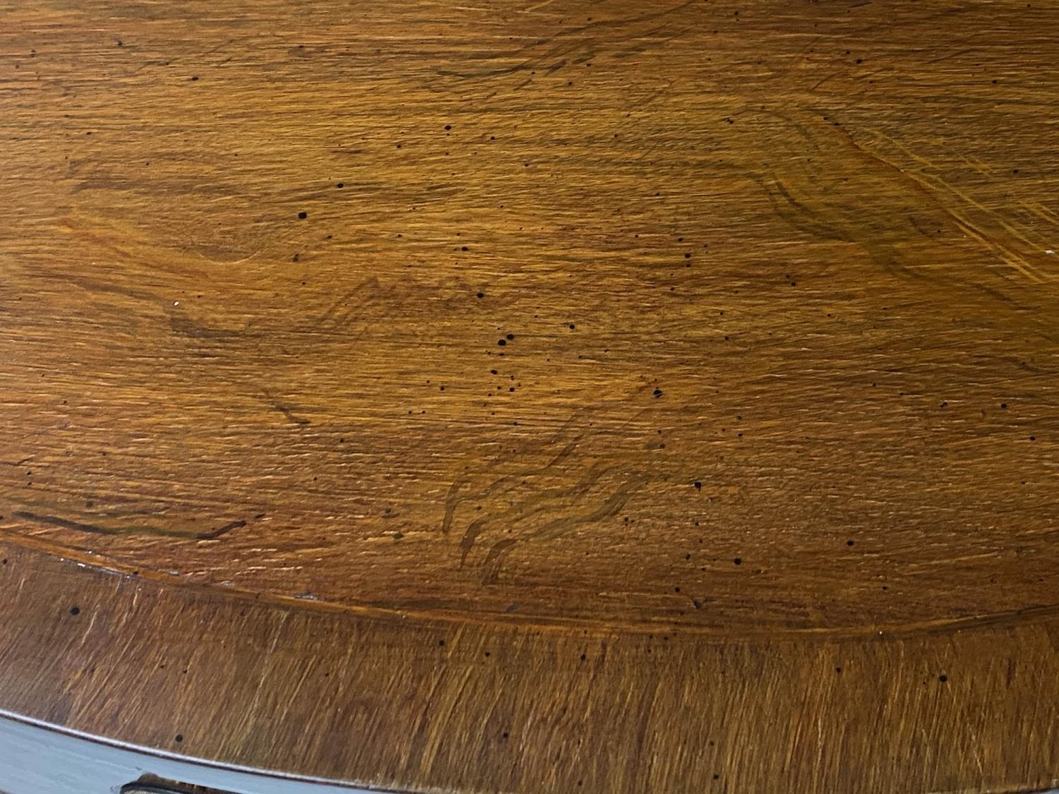 HALL TABLE, George III style figured mahogany and brass inlaid of serpentine outline with two frieze - Image 5 of 9
