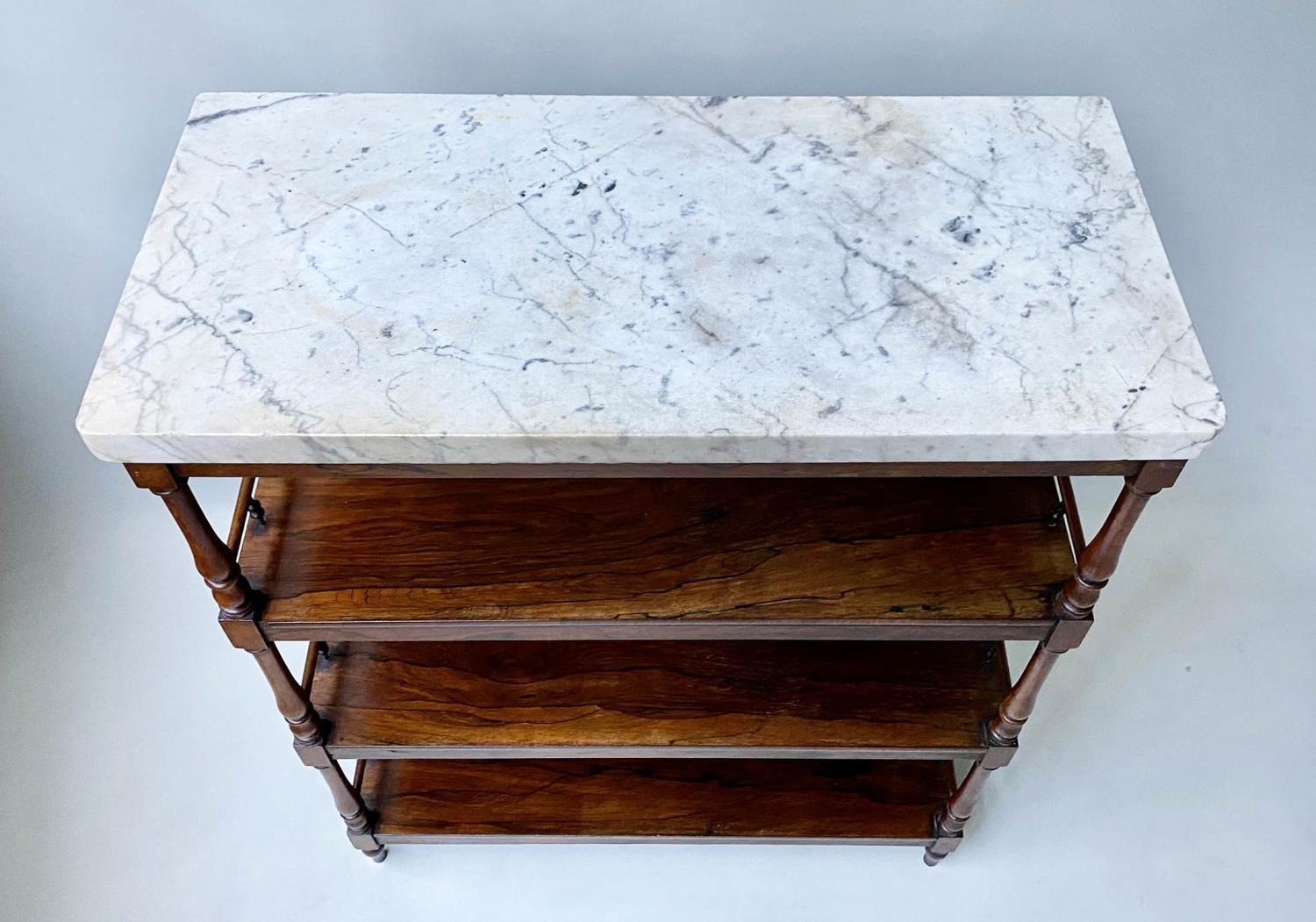 ETAGERE, early 19th century William IV rosewood with grey veined white marble top above three - Image 6 of 6