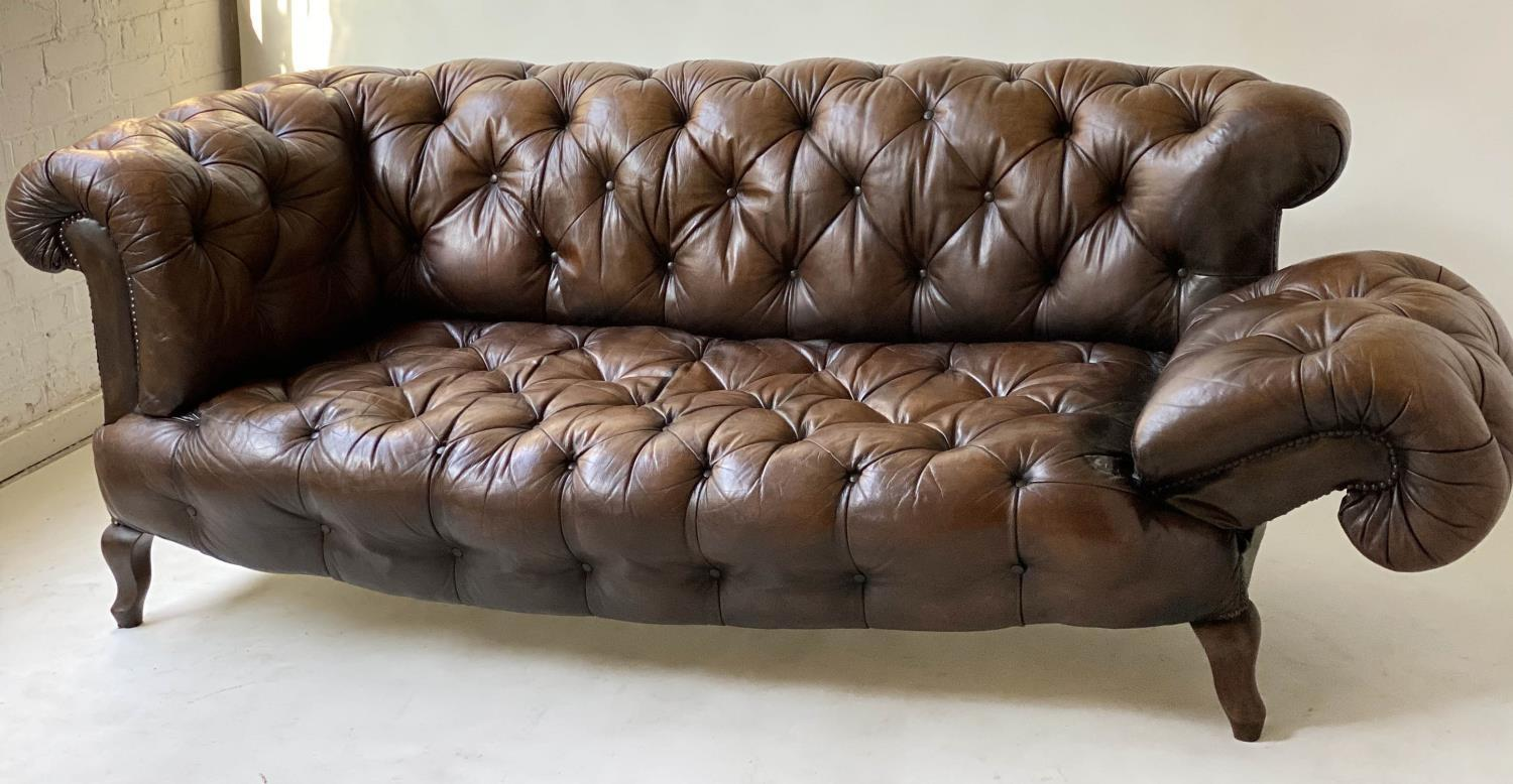 CHESTERFIELD SOFA, early 20th century Edwardian aged and faded brown leather with horsehair buttoned - Image 5 of 10