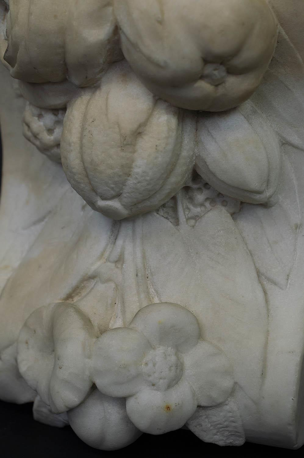CORBELS, a pair, Victorian carved marble, of flowers and fruit, 30cm H x 18cm W. (2) - Image 4 of 6