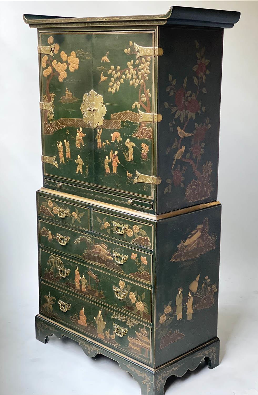 CABINET ON CHEST, 20th century dark green lacquer, gilt metal mounted and Chinoiserie decorated in - Image 3 of 9