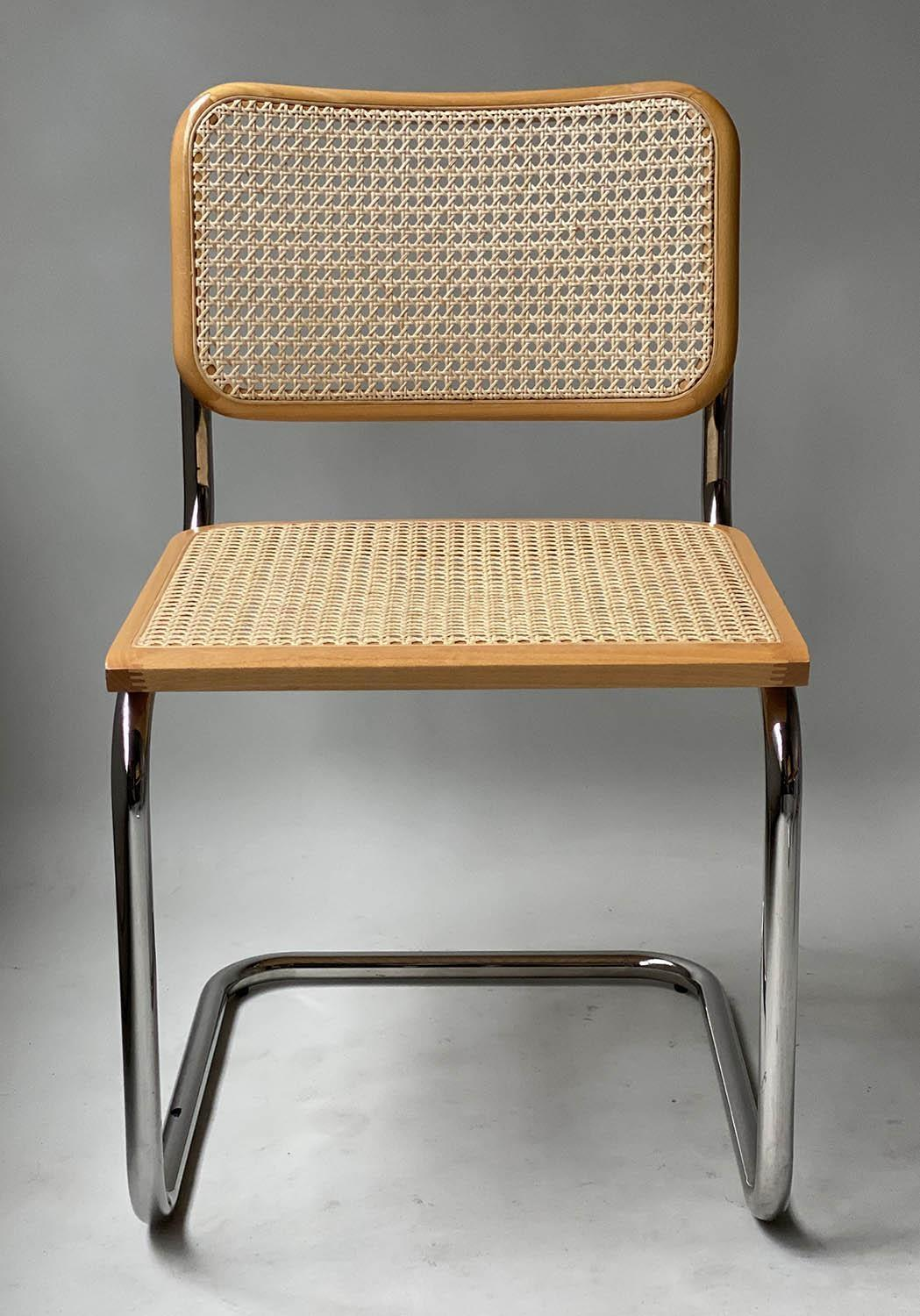 AFTER MARCEL BREUER DINING CHAIRS, Cesca style chairs, a set of six beech wood cane paneled and - Image 9 of 11