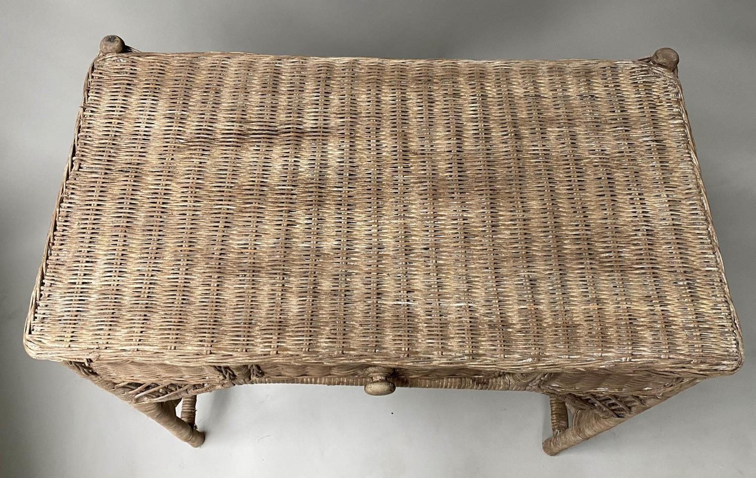 CONSOLE/HALL TABLE, vintage rattan and cane woven, with frieze drawer, 76cm W x 77cm x 42cm. - Image 6 of 7