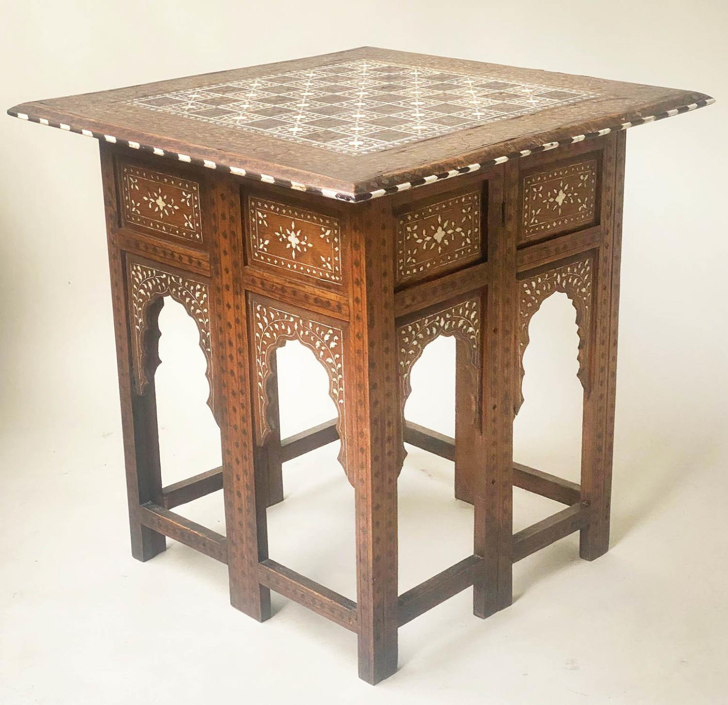 LAMP TABLE, Early 20th century Syrian square hardwood and ebony inlaid with conforming arched - Image 4 of 5