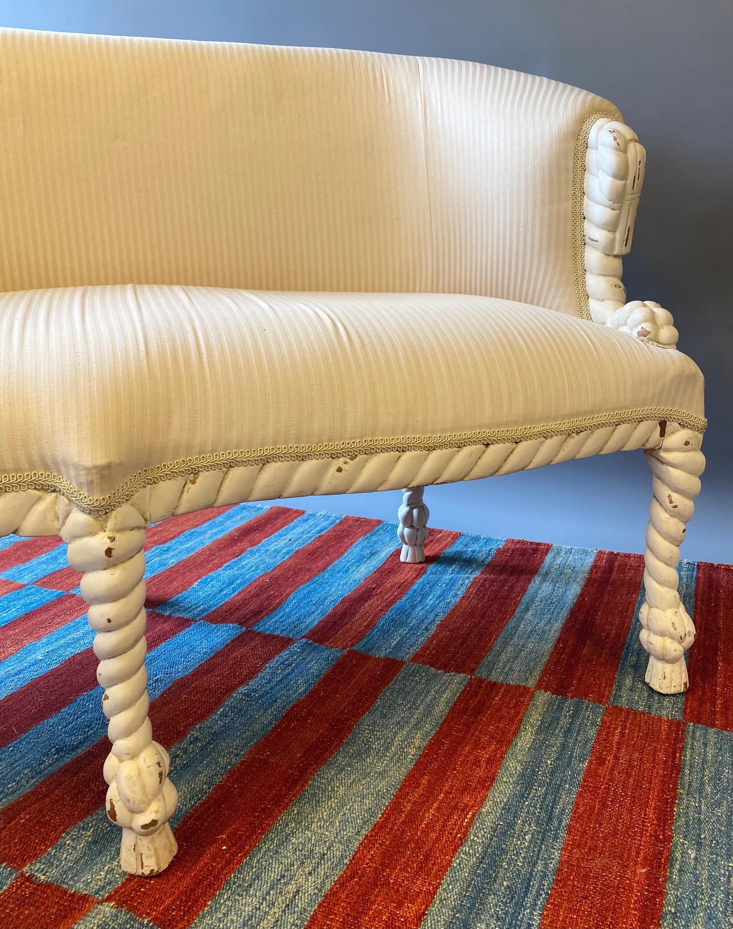 CANAPE, in the manner of A.M.E. Fournier, 20th century French painted carved rope twist frame with - Image 5 of 6