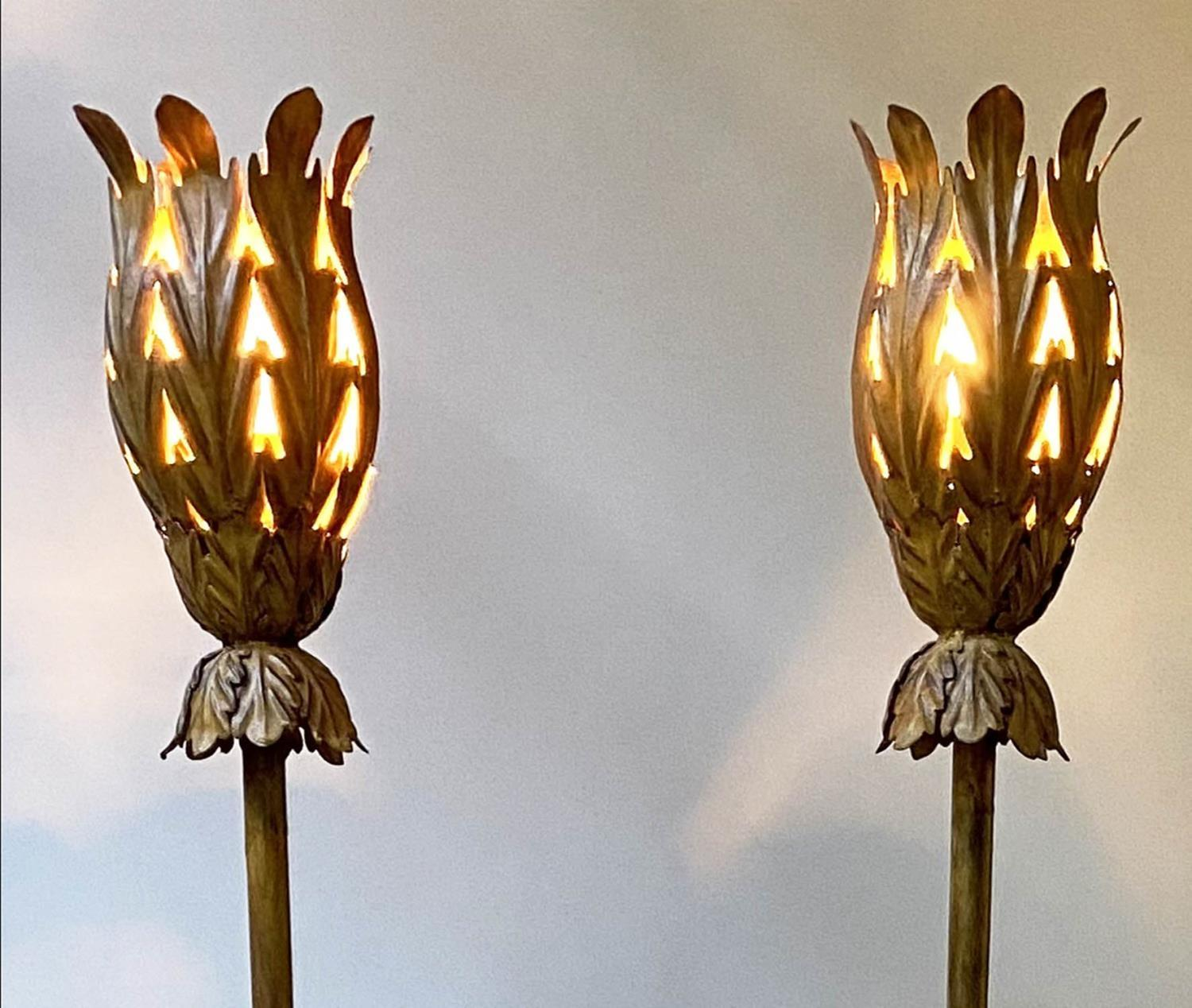 STANDARD LAMPS, a pair, vintage 1970's each with gilt metal leaf shade and column and weighted