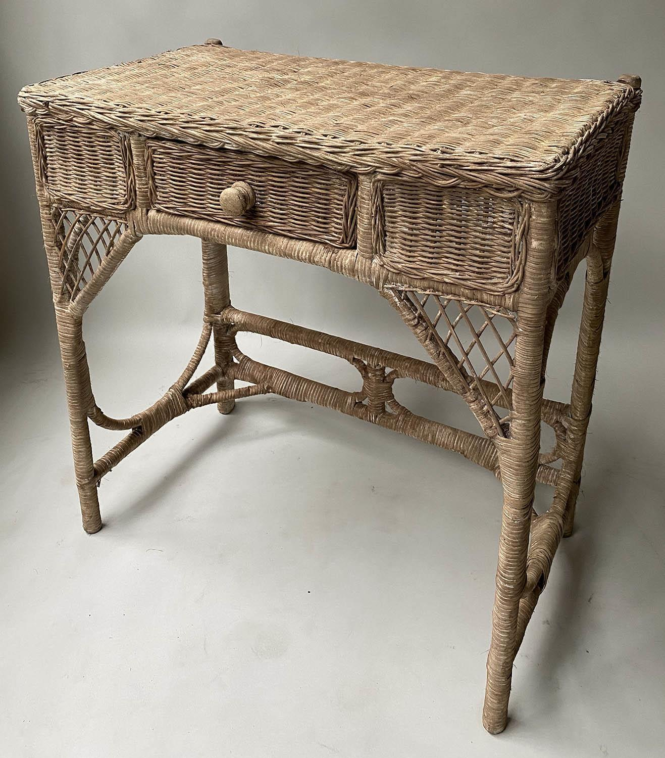 CONSOLE/HALL TABLE, vintage rattan and cane woven, with frieze drawer, 76cm W x 77cm x 42cm. - Image 5 of 7