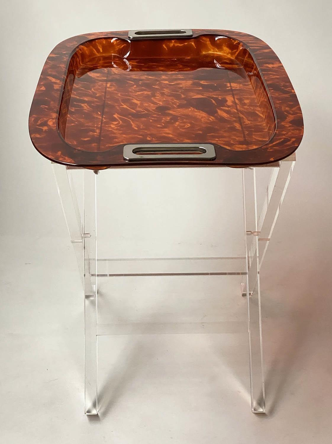 TRAY ON STAND, rectangular faux tortoiseshell with silvered metal handles on folding lucite stand, - Image 2 of 8
