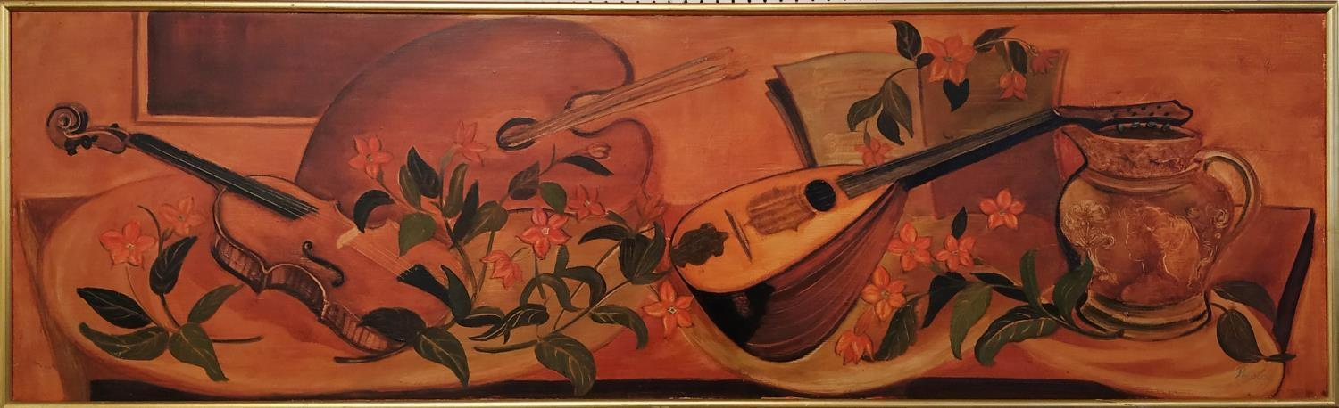 PELOUSE (20th century, France) 'Still Life with Mandolin', Palette, Jug and Flowers', oil on canvas,