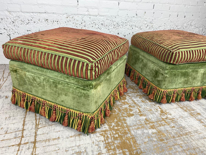 OTTOMANS, a pair, striped silk and green velvet upholstered with tasseled bullion fringes, 47cm H - Image 3 of 6