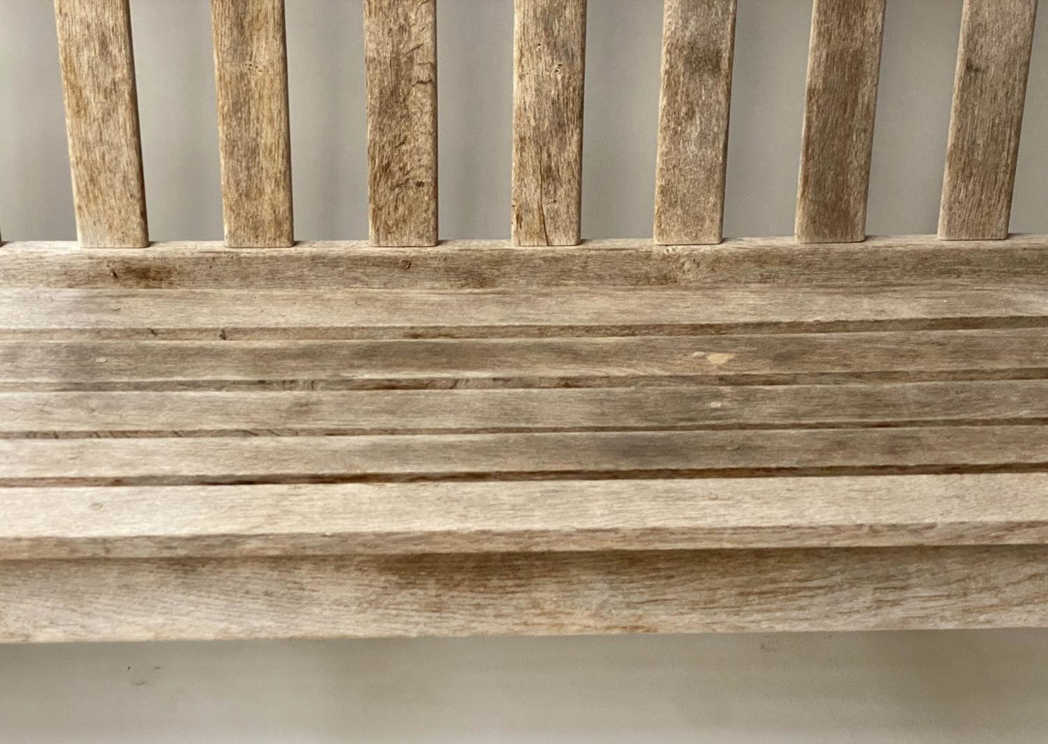 ENGLISH GARDEN BENCH, weathered English oak of substantial and slatted construction, 168cm W. - Image 6 of 8