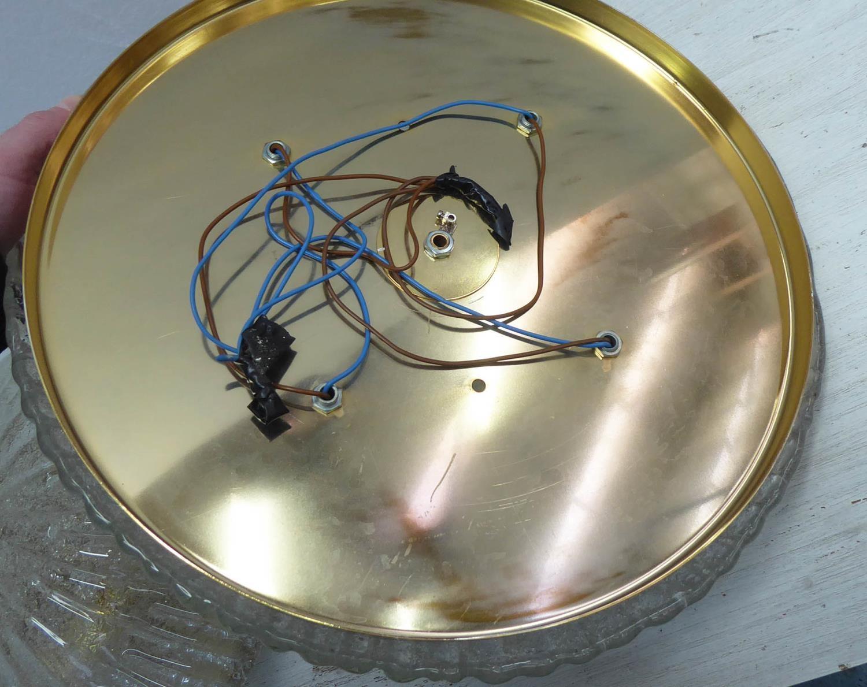 MURANO PLATFONIER CEILING LIGHTS, a pair, vintage in gilt frames, floral detail, 40cm diam. (2) - Image 5 of 5