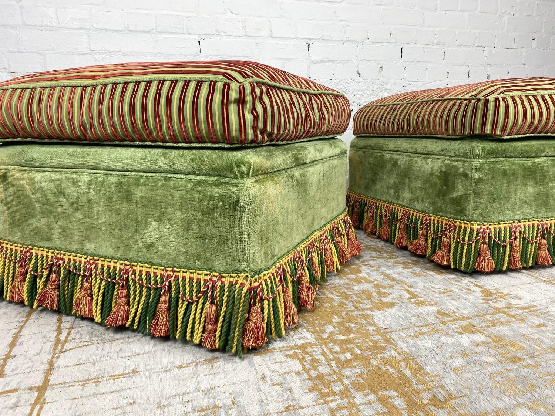 OTTOMANS, a pair, striped silk and green velvet upholstered with tasseled bullion fringes, 47cm H - Image 4 of 6