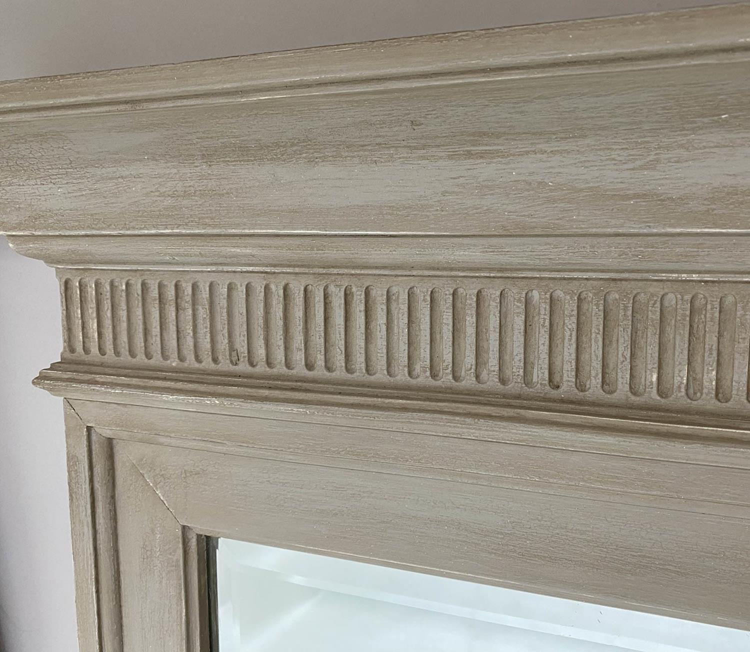 PIER MIRRORS, a pair, Regency style grey painted each with cornice, fluted frieze and bevelled - Image 6 of 6