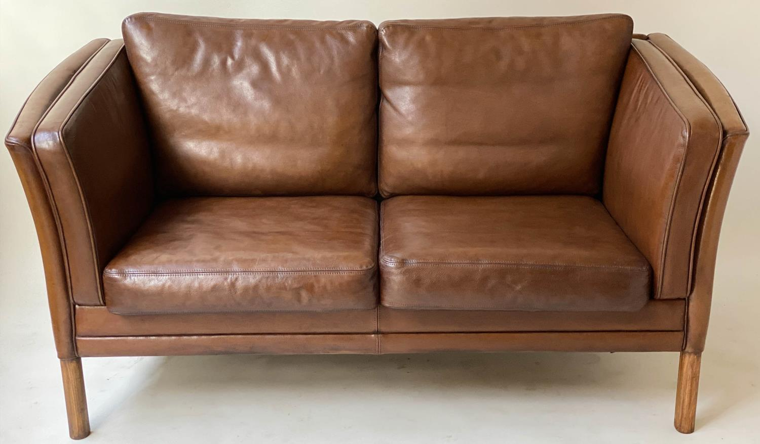 SOFA, teak, 1970's Danish style grained tan leather with two cushion seat and back, 150cm W.
