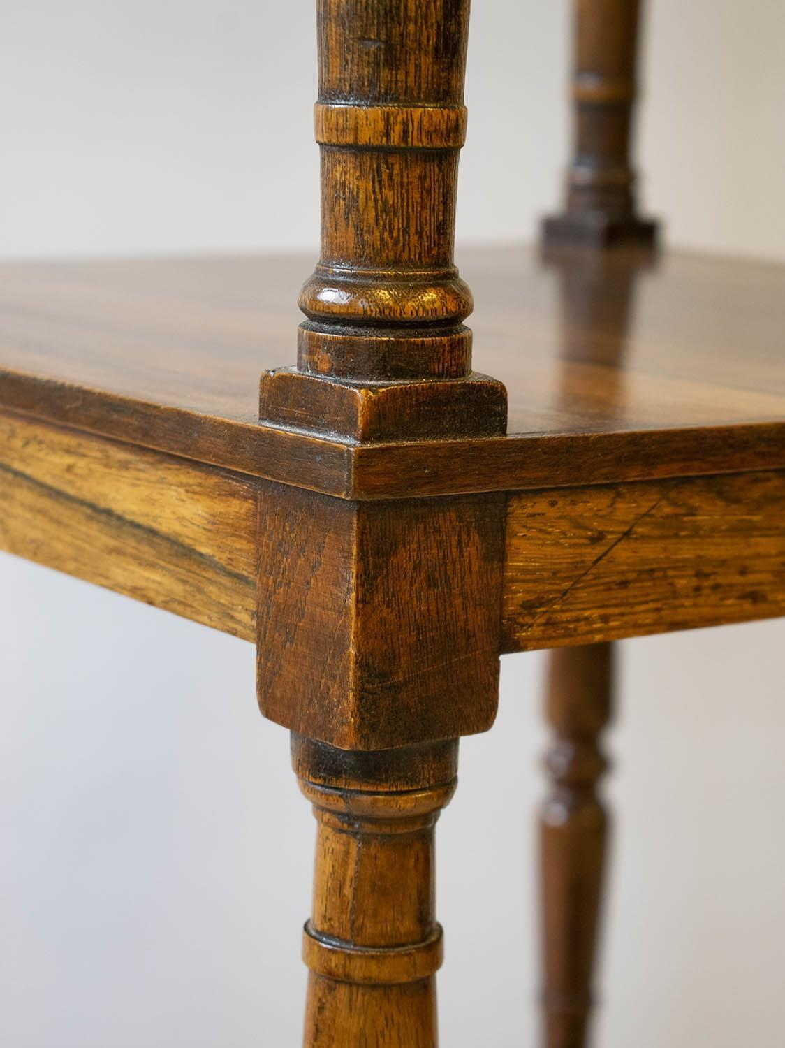 WHATNOT, George IV rosewood, circa 1820, of three tiers with single drawer on brass castors (upper - Image 2 of 4