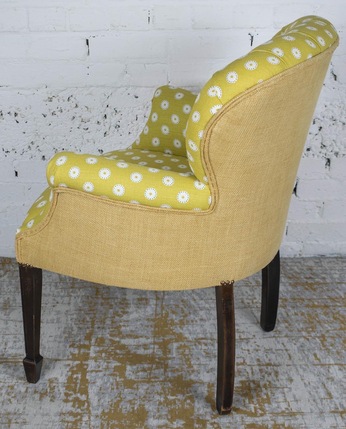 ARMCHAIR, Georgian style in yellow and white dot patterned fabric, 86cm H x 66cm x 66cm. - Image 2 of 3