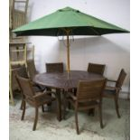 GARDEN SET, including a table, circular hardwood 74cm H x 153cm a green parasol and a set of six