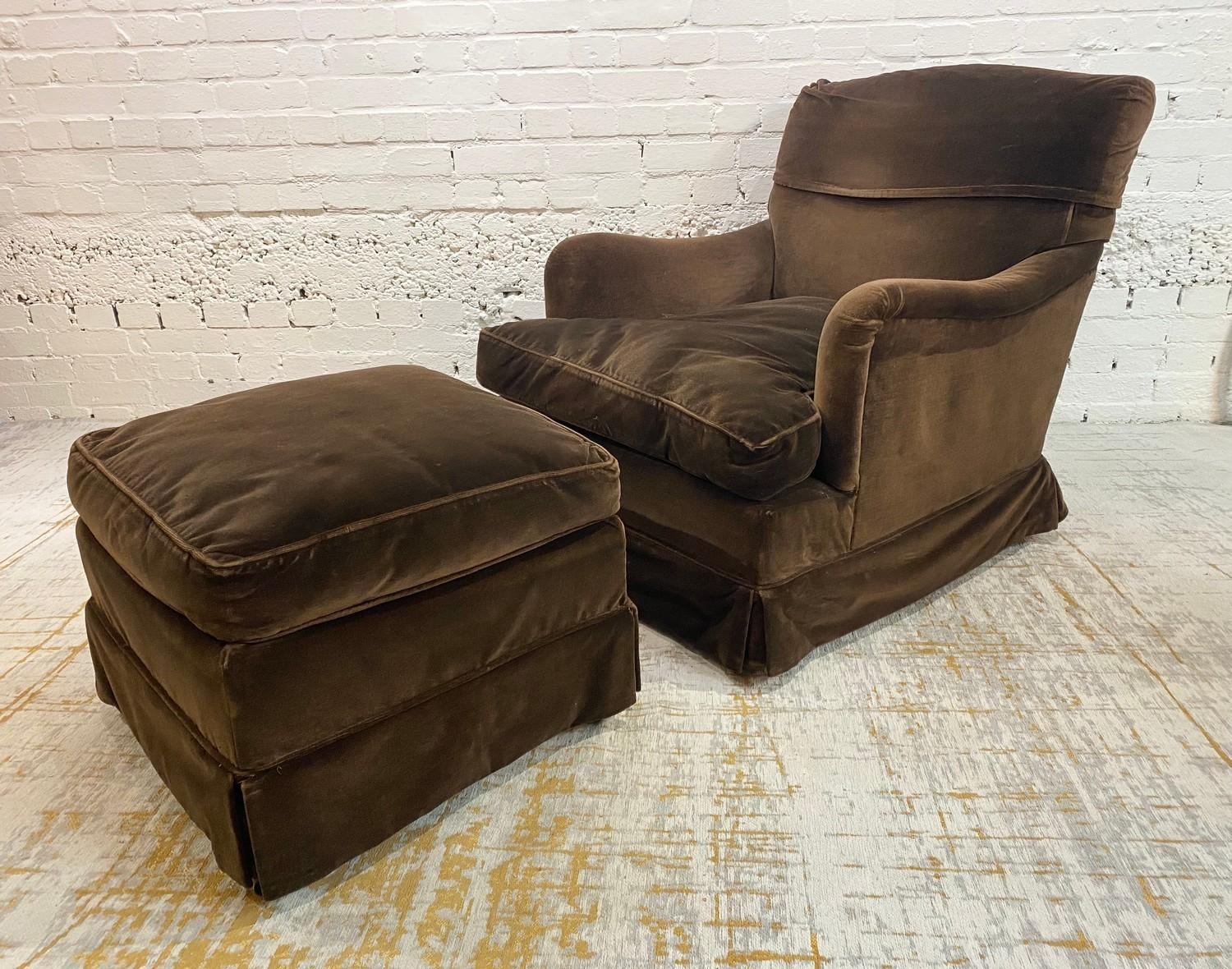 HOWARD AND SONS BRIDGEWATER ARMCHAIR, stamped 'Howard Chairs, 48 Sth Audley St London W.1 2385?,
