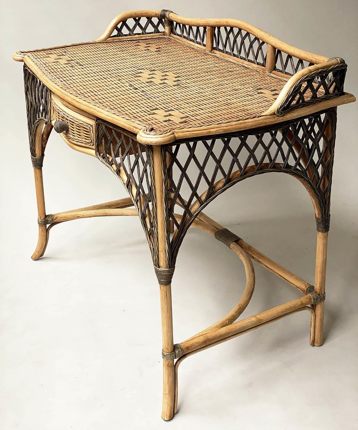 SIDE/WRITING TABLE, vintage Ralph Lauren style two tone rattan with gallery and frieze drawer, 103cm - Image 5 of 6