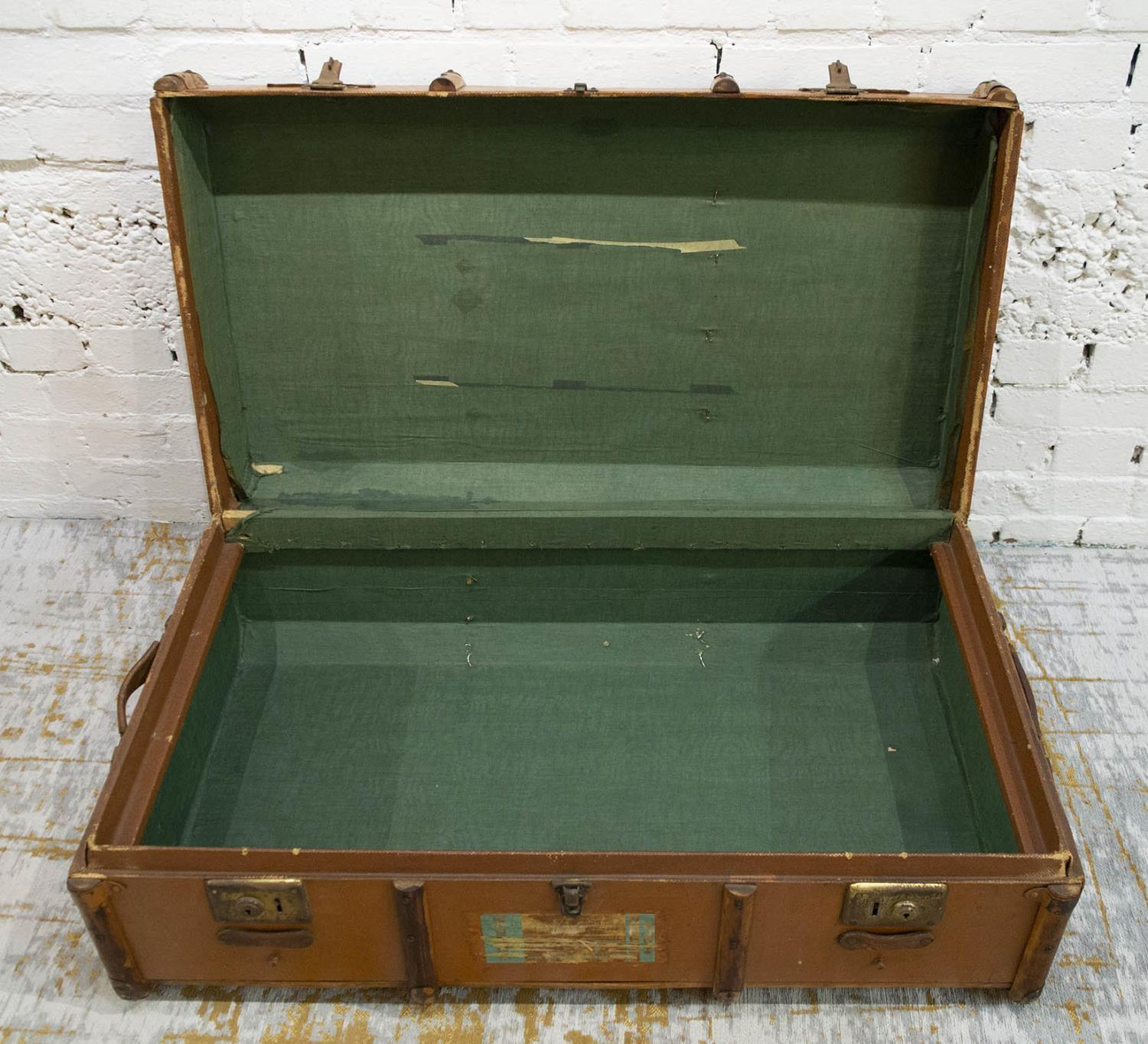 TRUNK, early 20th century canvas and bentwood with brass studs and mounts, bears original luggage - Image 3 of 10