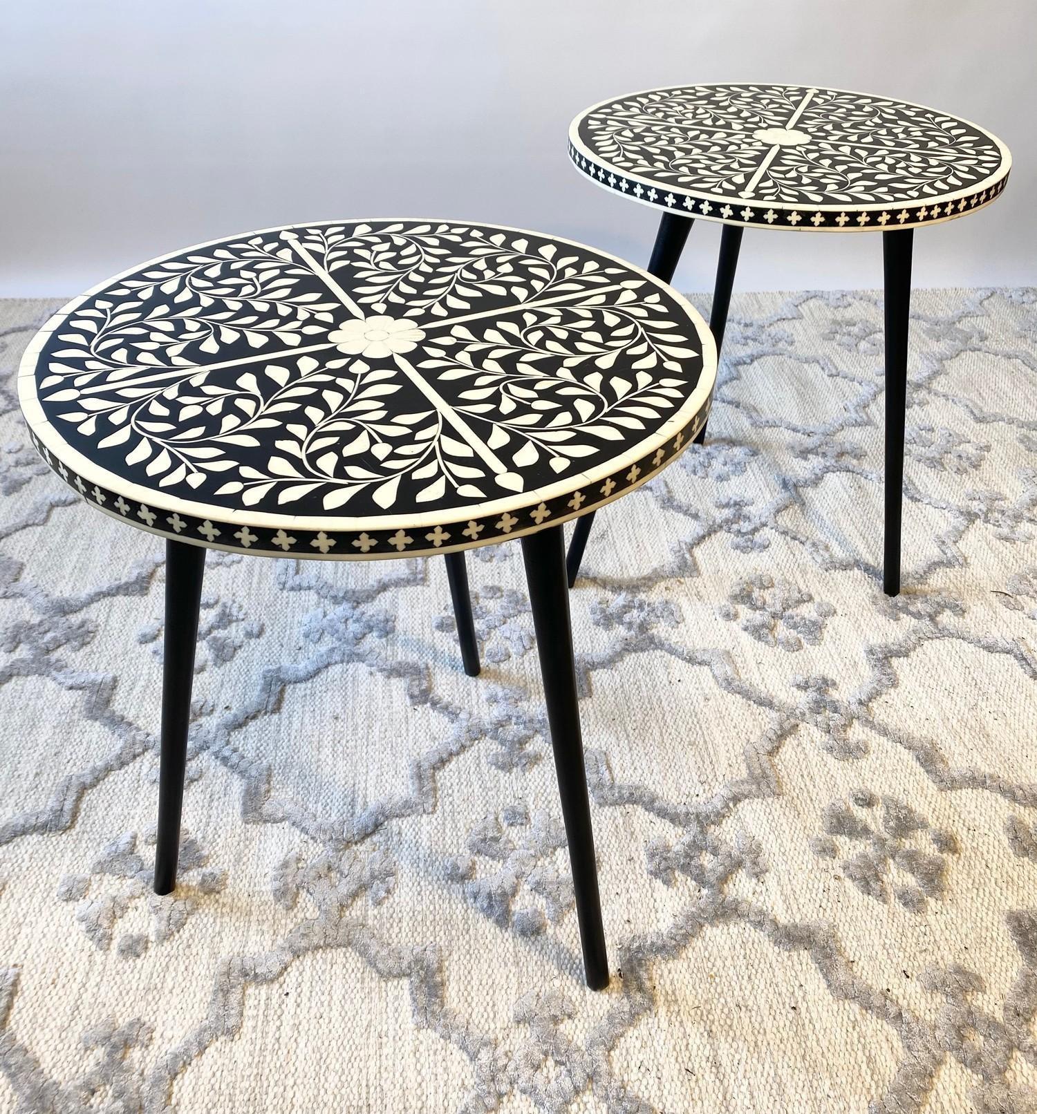 LAMP TABLES, a pair, Moorish design inlaid tops on tripod metal legs, 47cm H x 41cm x 41cm. (2)