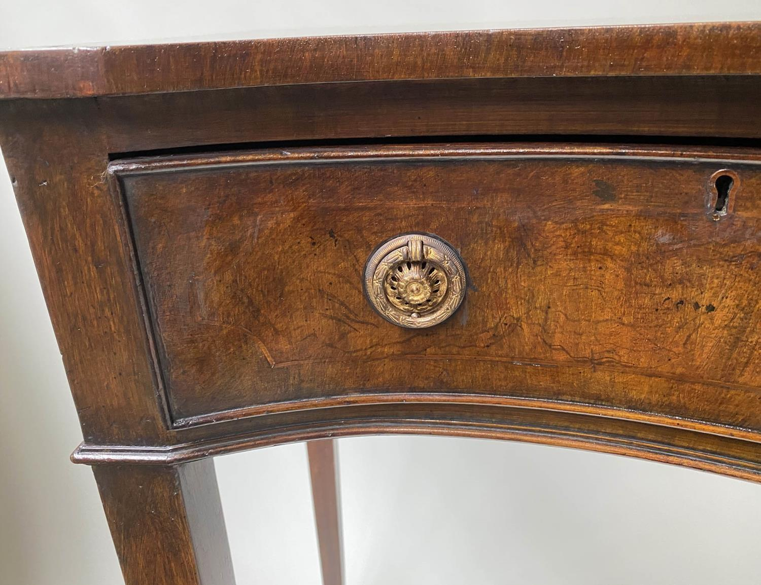 HALL TABLE, George III style figured mahogany and brass inlaid of serpentine outline with two frieze - Image 8 of 9