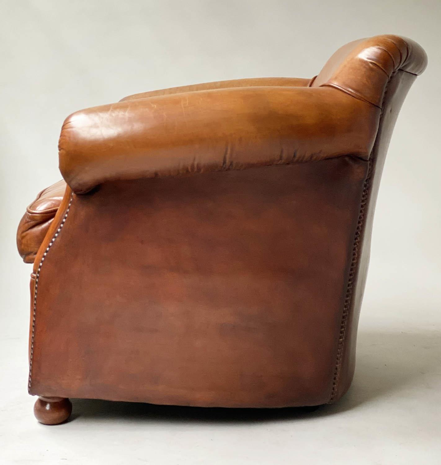 CLUB ARMCHAIRS, a pair, tobacco leaf brown leather and brass studded with scroll arms, 83cm W. (2) - Image 2 of 6