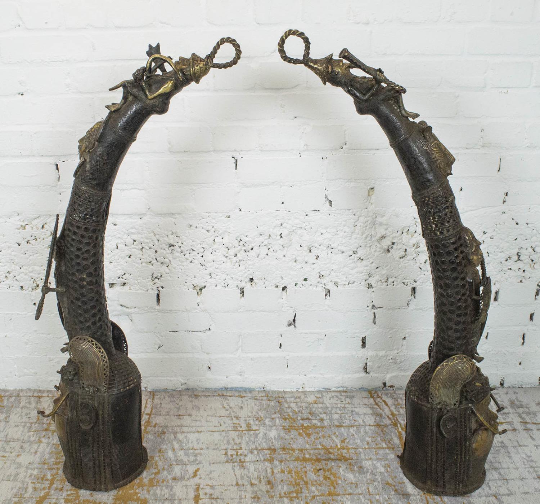BENIN OBA BRONZE THRONE HEADS, a pair, 105cm H. (2) - Image 2 of 6