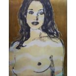 DAVID BROMLEY (British b.1960) 'Gillian', acrylic and gold leaf on canvas, signed lower right, 122cm