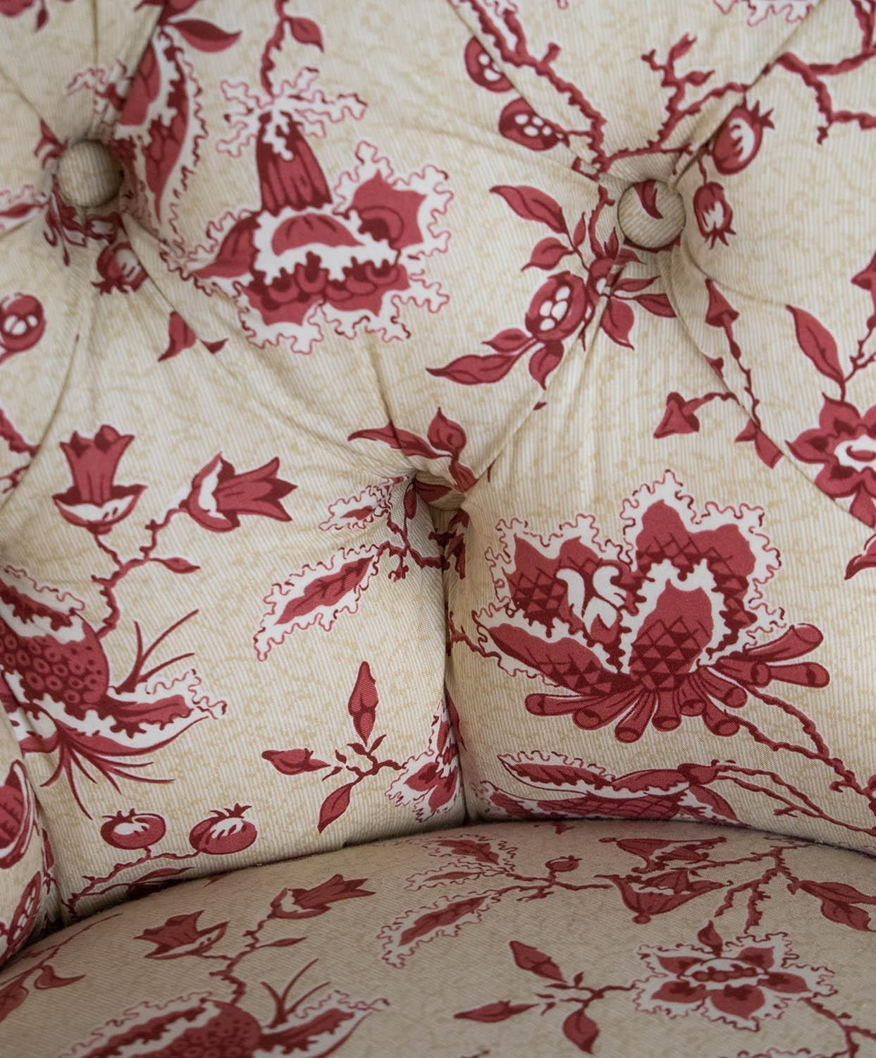 BERGERE, Napoleon III mahogany in cream and red foliate patterned upholstery, 75cm H x 61cm x 73cm. - Image 2 of 3