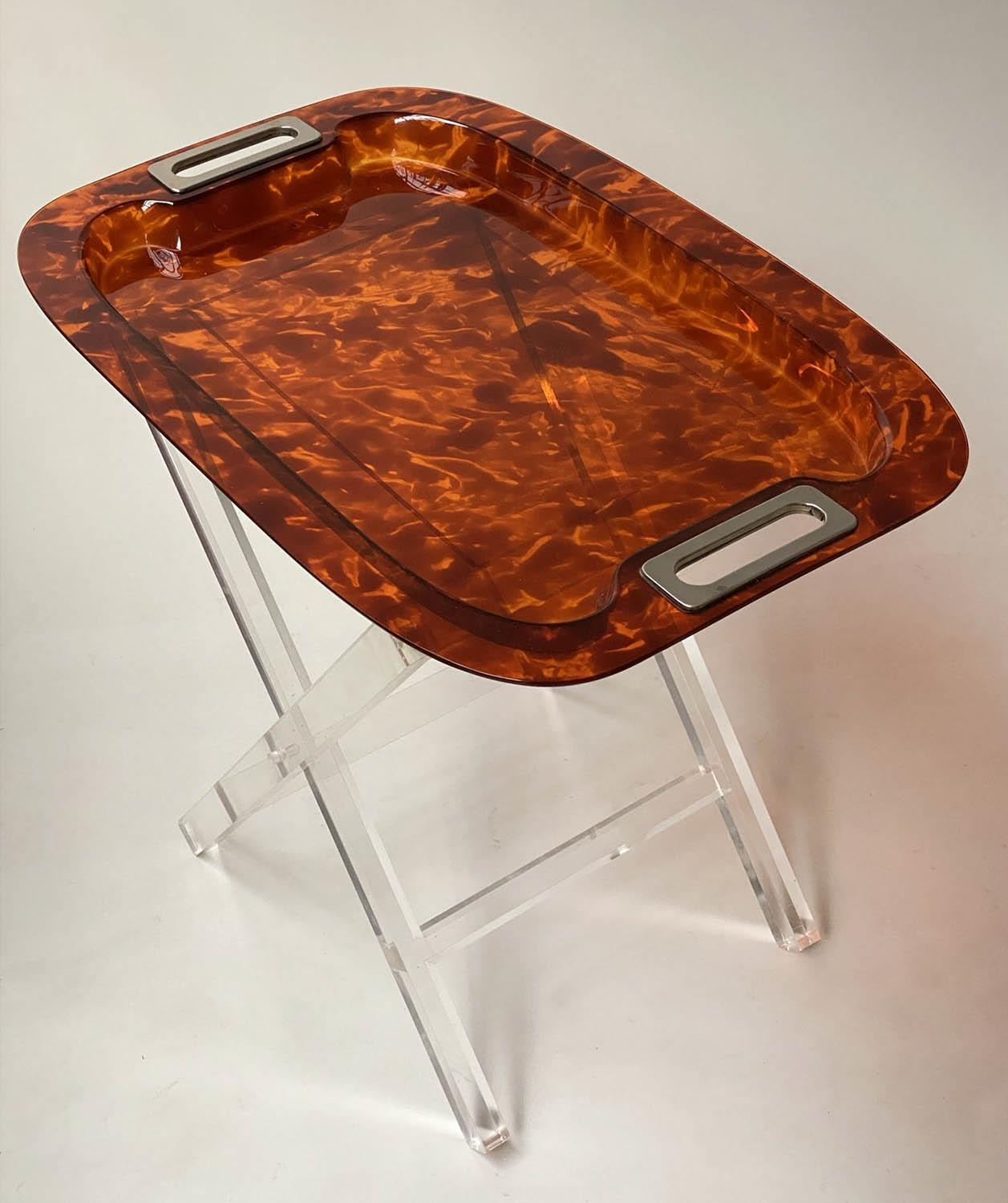 TRAY ON STAND, rectangular faux tortoiseshell with silvered metal handles on folding lucite stand, - Image 3 of 8