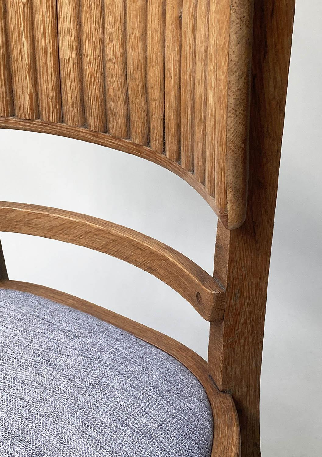 DINING CHAIRS, a set of four oak with ridged bar back and tweed seats. (4) - Image 2 of 5