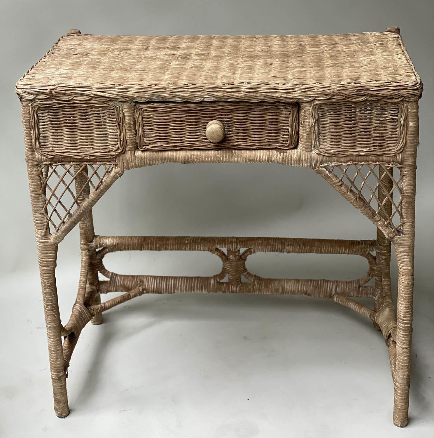 CONSOLE/HALL TABLE, vintage rattan and cane woven, with frieze drawer, 76cm W x 77cm x 42cm.