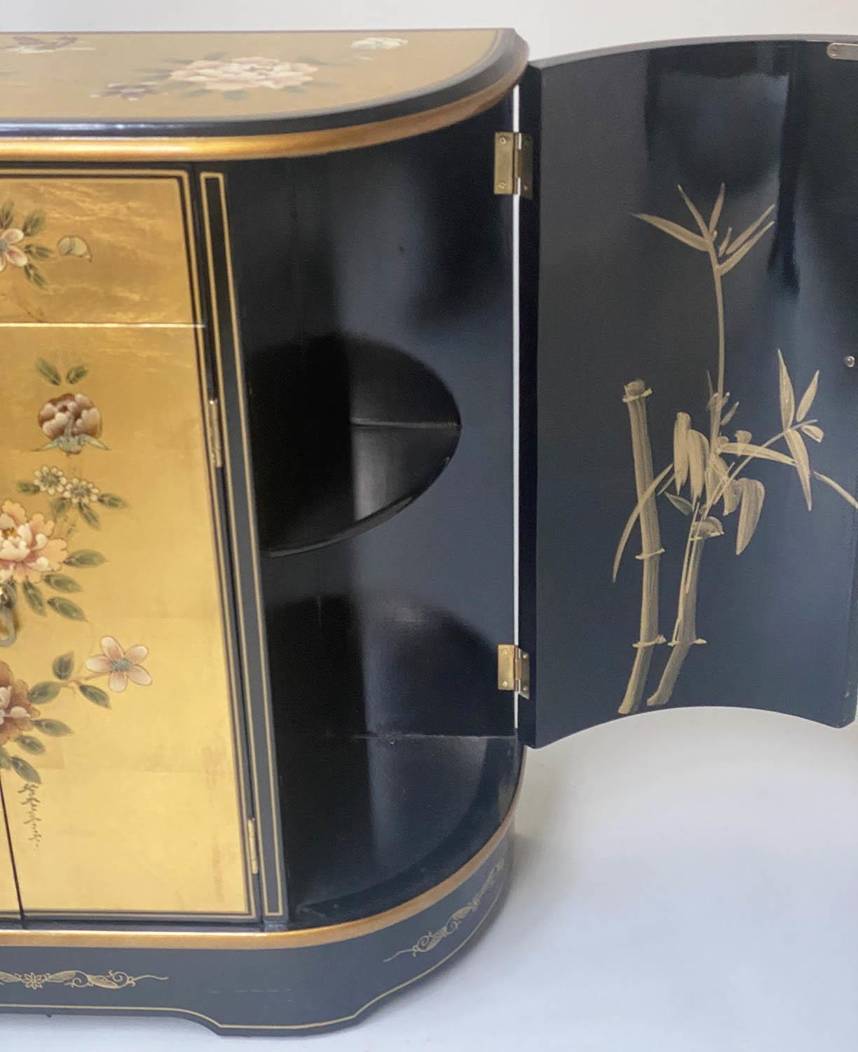 SIDE CABINET, 20th century Chinese D outline gilt lacquer and flower decorated with drawer and - Image 7 of 9