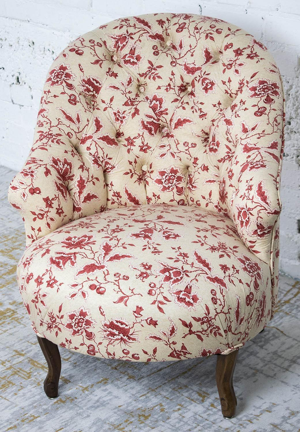 BERGERE, Napoleon III mahogany in cream and red foliate patterned upholstery, 75cm H x 61cm x 73cm. - Image 3 of 3