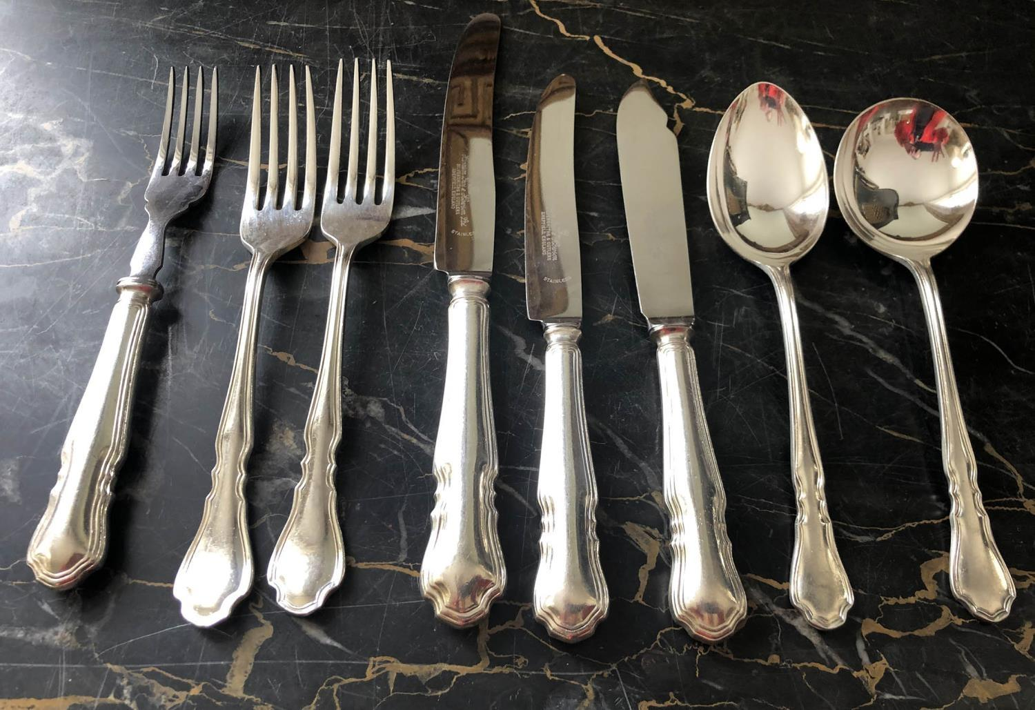 CANTEEN OF CUTLERY, silver plated 'Harrison and Hawson' 'Dubarry' pattern, nine place, eight piece