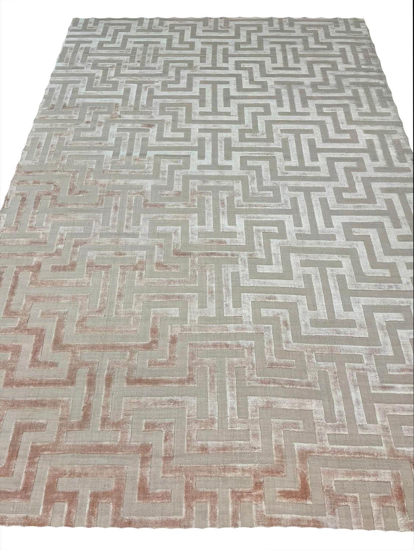 CONTEMPORARY ART DECO DESIGN SILK CARPET, 300cm x 200cm, geometric pastel field. - Image 2 of 2