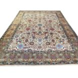 FINE PERSIAN TABRIZ CARPET, 387cm x 288cm, all over palmette and vine design with deer motifs within