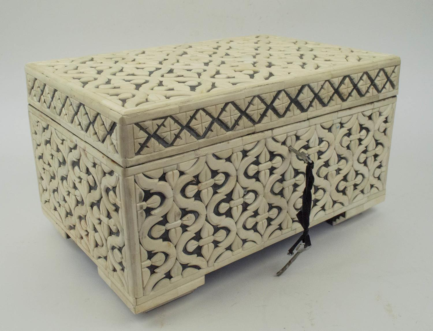 CASKET, bone geometric clad with hinged top and interior tray, 22cm H x 38cm x 25cm. - Image 2 of 7