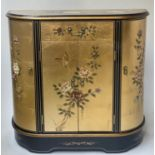 SIDE CABINET, 20th century Chinese D outline gilt lacquer and flower decorated with drawer and