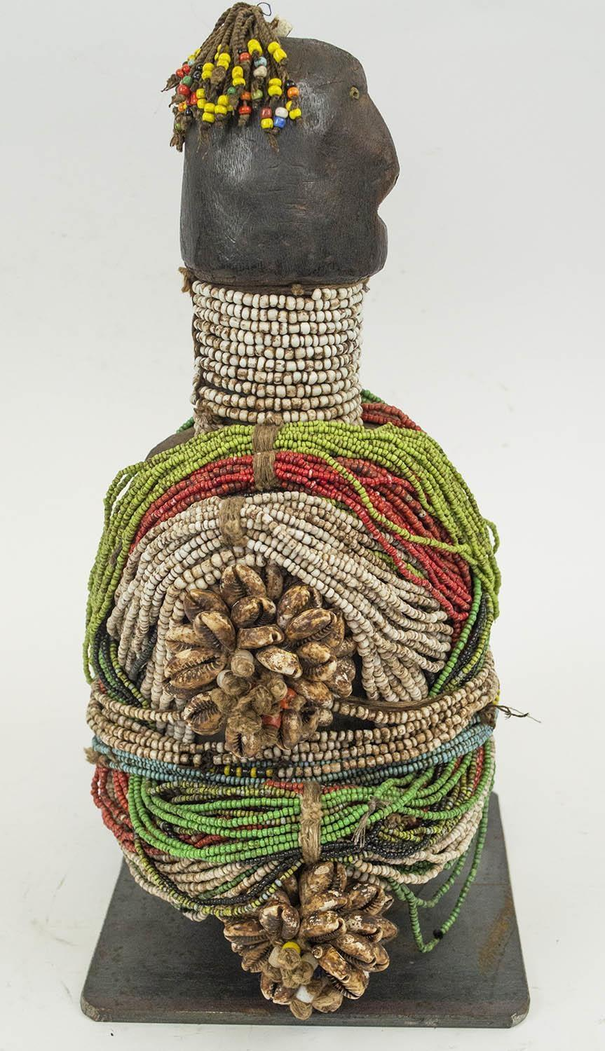 FALI RITUAL DOLL, from Cameroon, adorned with beads and cowrie shells, 40cm H. - Image 4 of 4