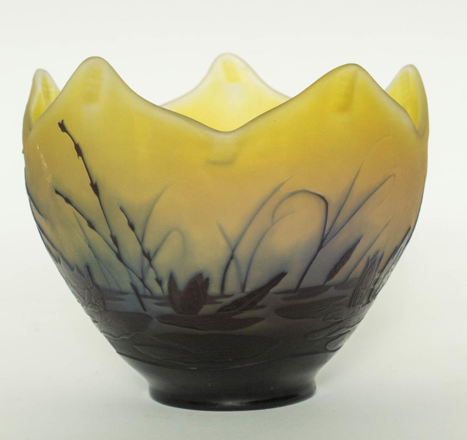 BOWL, Emile Galle Cameo glass, having a shaped edge, with blueish purple lily pad acid etched