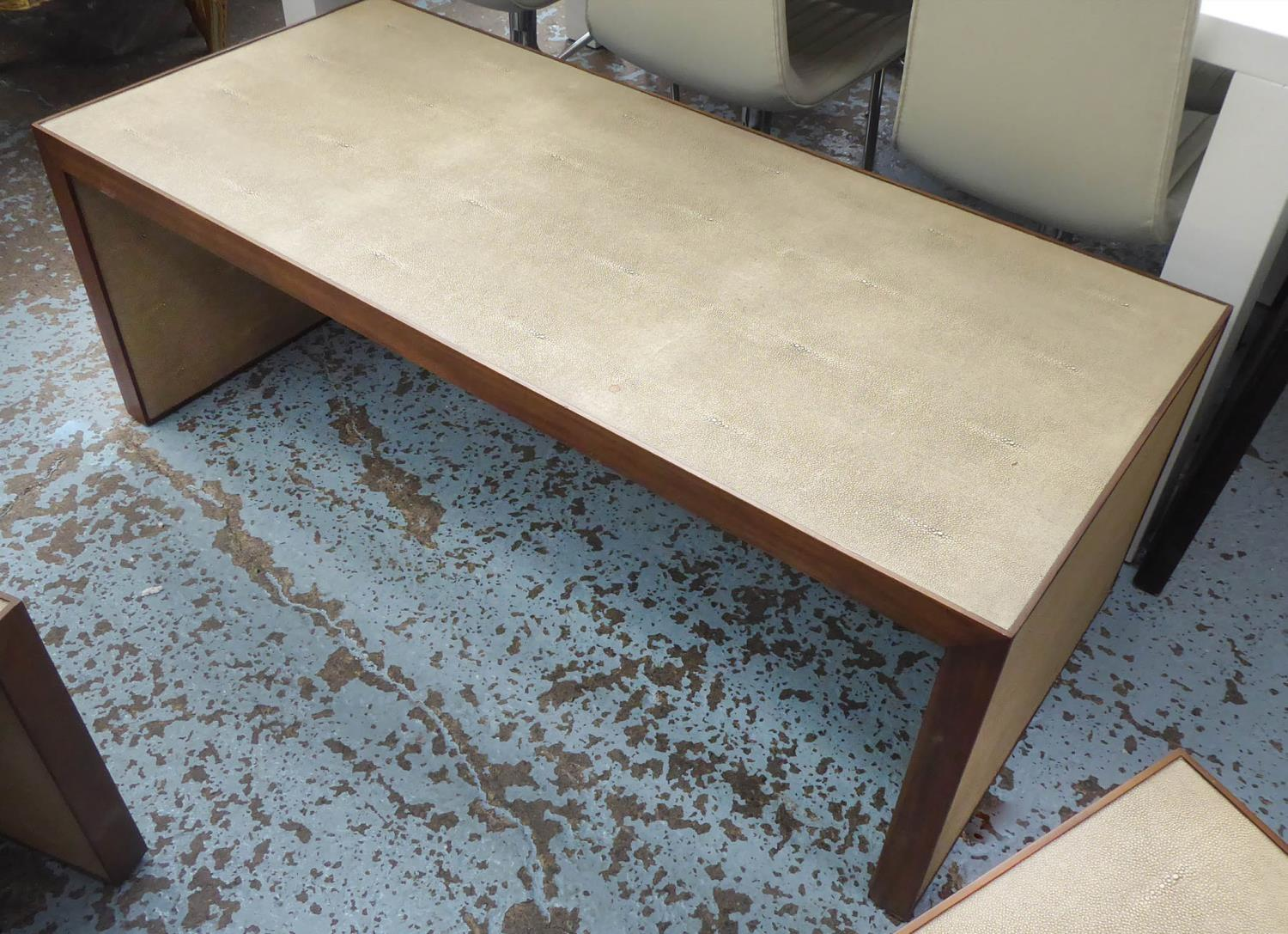NEST OF TABLES, contemporary, faux shagreen finish, 137.5cm x 67cm x 49cm at largest. - Image 2 of 6