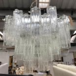 NOVARESI CHANDELIER, 'Tronchi', hanging light made of clear Moreno glass, labelled, 70cm drop