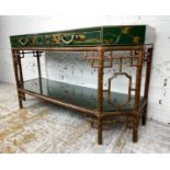 MAITLAND-SMITH CHINOISERIE HALL TABLE, vintage bamboo and emerald green lacquer with hand painted